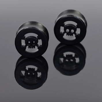 Cool Ear Expanders 1 Pair Black Wood Skull  Hollow Tunnel Plugs 10-20mm High Quality Body Piercing Jewelry Ear Plugs Studs