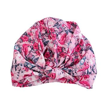 Dahlia Shower Cap In Florida Flamingo - Hair Wrap in Pink Floral