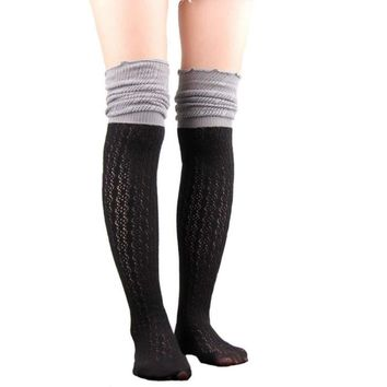 Long Lace Boot Socks Mesh Thigh High Leg Warmers Women Knit Boot Cuffs Knee Warmer Boot Toppers Gaiter Boot Covers Free shipping