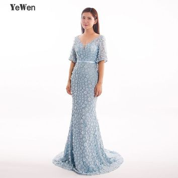 Mermaid Short Sleeves Luxury Evening Dresses Flowers Pearls Party Prom Formal Dress Women Elegant Gowns 2018 Prom Dress YeWen