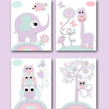 Mint Pink Lavender Canvas Print Baby Girl Nursery Art for Children Art Kid Wall Art Elephant Wall Art Giraffe Wall Art Owl Wall Art set of 4