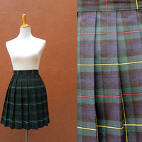 Vtg High Waist Plaid Pleated Mini Skirt Kilt Size 6 Clueless Style Medium Red Green blue schoolgirl cute short