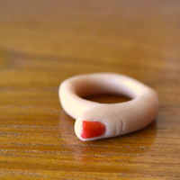 $14.00 Finger Ring with Red Nail Polish by fatmanatee on Etsy