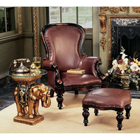 Park Avenue Collection S/ Rococo Faux Leather Chair & Ottoman