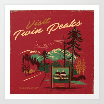 WELCOME TO TWIN PEAKS Art Print by stevenrhodes