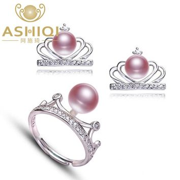 ASHIQI Natural Freshwater Pearl 925 Sterling-Silver Rings Earrings Jewelry Sets Fashion crown for women