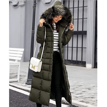 Womens Hooded Long Coat with Removable Faux Fur Collar