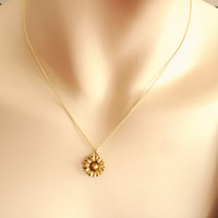 Sunflower, gold filled, necklace, sunflower, necklace, flower, jewelry, gold, flower, simple, dainty, sweet, minimal, gift, for her, charm