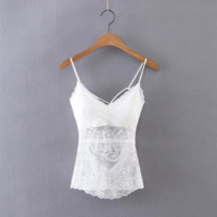 Fashion lace vest female summer new ladies back strap harness top shirt