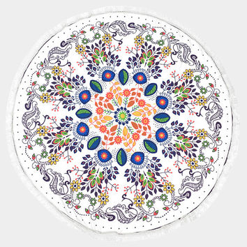 White Multi-Color Floral Pattern Round Cotton Beach Towel with Tassel Trim, Beach blanket, Rug