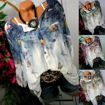 2017 Butterfly Printed Blouses Women Fashion Long Sleeved Cotton Plus Size Casual Tops Tie Dye Blouses