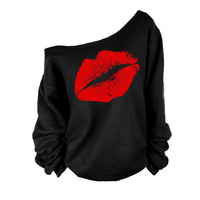Cupshe Dream World Lip One Shoulder Sweatshirt