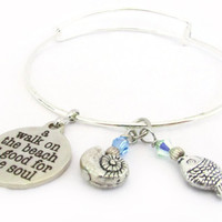 Beach Inspired Bracelet, Beach Quote Bracelet, Bangle Bracelet, Walk on the Beach Bracelet, Beach Jewelry, Snail Shell Bracelet