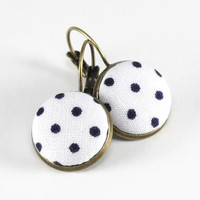 Antique Leverback Earrings - Black and White Polka Dots - Classic Fabric Covered Buttons Jewelry