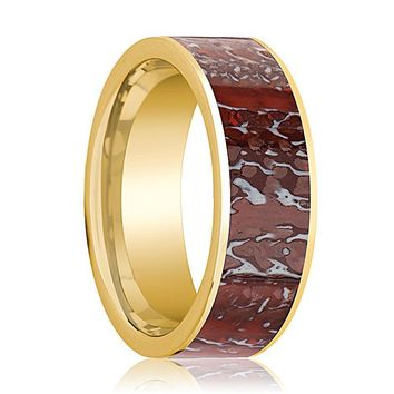 OBSIDIAN Men's 14k Yellow Gold Red Dinosaur Bone Inlaid Ring for Men Flat Polished Design - 8MM