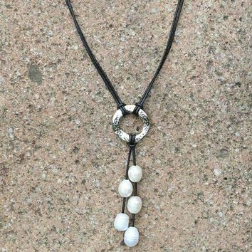 Leather & Pearl Ringed Pearl Necklace