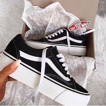 Fashion Online Vans Old Skool Platform Black Sneaker Thick Shoe Sole I