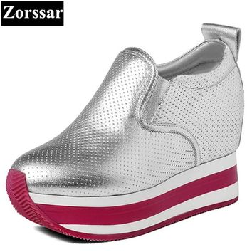 {Zorssar} 2017 Womens platform Shoes Genuine leather Wedges High heels Pumps female casual shoes Women height increasing shoes