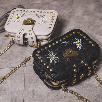 Embroidery Flower Shoulder Bag
