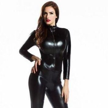 Women's Zentai Zip-Up Spandex Full Bodysuit