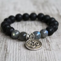 Natural labradorite bracelet Lava rock bracelets Om pendant Zen Inspiration jewelry Charm Motivation yoga Om sign Energy For him Boyfriend