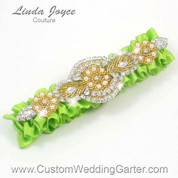 Apple Green and Gold Vintage Wedding Garter Rhinestone 550 Green Yellow Custom Bridal Luxury Prom Garter Plus Size & Queen Size Available