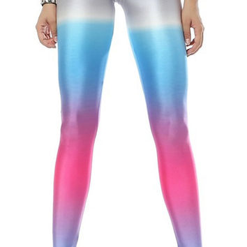 BadAssLeggings Women's Rainbow Gradient Leggings Medium Tall