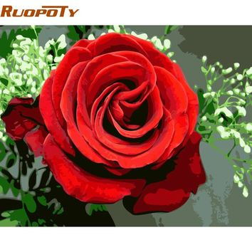 RUOPOTY Frame DIY Painting By Numbers Romantic Rose Modern Wall Art Picture Hand painted Oil Painting For Wedding Decoration