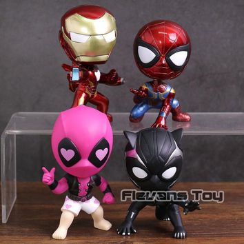 Deadpool Dead pool Taco Marvel  Super Heroes Iron Man Spiderman Black Panther  Bobble Head Dolls PVC Action Figure Collectible Model Toys AT_70_6