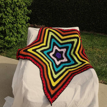 Rainbow Star Blanket, Crochet Afghan, Baby Child Blanket, Sofa Throw, Baby Shower Gift, Child Birthday Gift