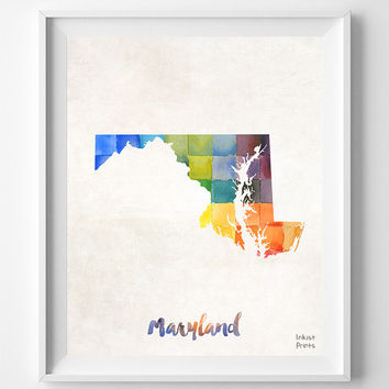 Maryland, Map, Print, Poster, Watercolor, Annapolis, Home Town, Dorm, Art, USA, Painting, States, America, Wall Decor, Watercolour [NO 849]