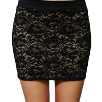 Sequined Lace Bodycon Mini Skirt | Wet Seal