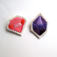 Geometric gem brooch set of two embroidered in pinks and purples