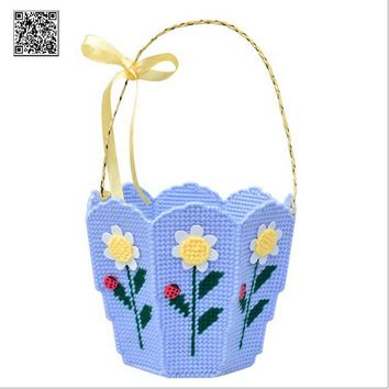 Plastic Canvas Cross Stitch kit, Creative basket, Flower Basket cross stitch,f005