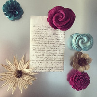Wood Flower Magnets - 6 pack