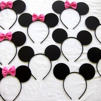 10ct half Mickey Mouse ears and half Minnie mouse ear headbands LOT pink or red