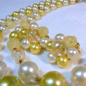 Pastel Yellow 3 Strand Necklace & Earrings: Sugar Coated and Faux Pearl Beads (Japan)