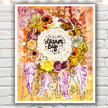 Dream Big - fine art print, mixed media painting, bohemian dream catcher art, dreamcatcher print, bright yellow pink wall art
