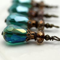 Peacock Green Teardrop Crystal and Picasso Czech Bead Dangle Charm Drop Set