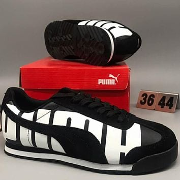 Puma SUEDE VALENTINE HIS fashion running shoes F-CSXY black+white line
