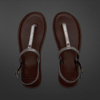 Dark Leather Flip Flops