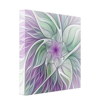 Flower Dream, Abstract Purple Green Fractal Art Canvas Print