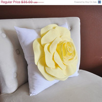 MOTHERS DAY SALE Throw Pillow Light Yellow Rose on White Pillow 14x14