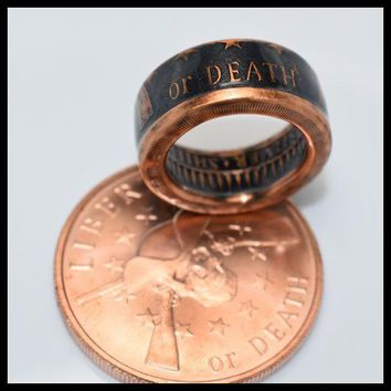 Copper Coin Ring - Liberty or Death - Patrick Henry - Mens Ring - Mens Gift
