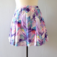 purple tennis skirt - 80s vintage pastel watercolor blue pink white pleated mini short athletic athleisure painterly Lily's Beverly Hills