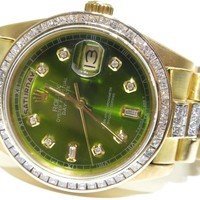 Rolex Day Date President 18078 18K Gold Bark 11ct White Princess Diamond Watch