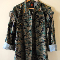 Vintage Gold Studded and Spiked Military Army Marines Camouflage Jacket - Size Men's Small Regular -