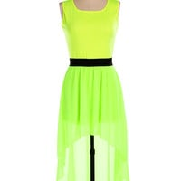 Green Square Neckline Sheath Dovetail Chiffon Pleated Midi Dress