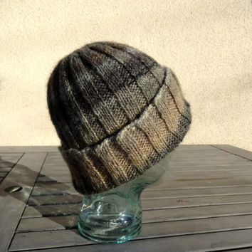 Knit Watchcap, Ribbed Knit Watchcap, Knit Striped Hat, Brown Stripe Hat, Winter Hat, Wool Blend Hat, Beanie, Mens Hat, Womens Hat, Teens Hat