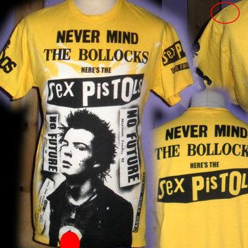 SEX PISTOLS never mind the bollocks 100% unique punk t shirt size MEDIUM hand printed and hand painted by bad clown clothing